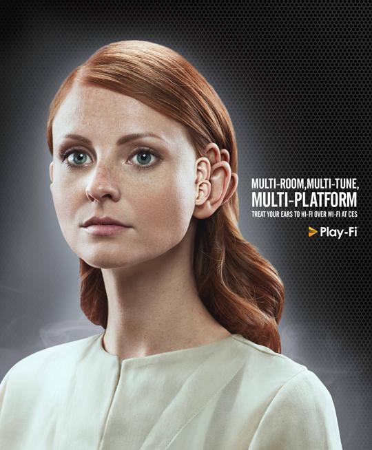 DTS Play-Fi woman print ad