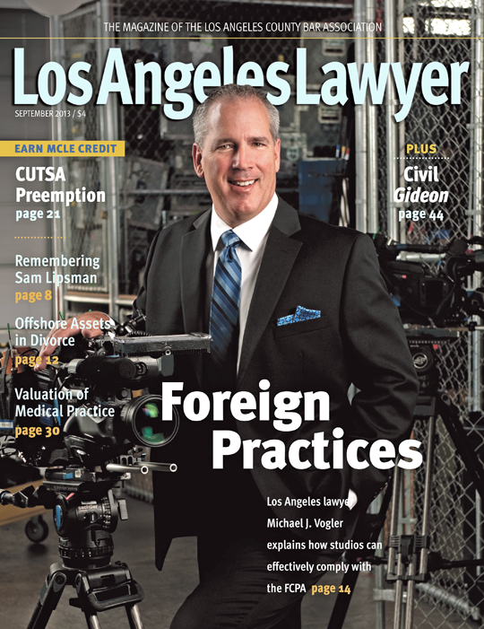 LA Lawyer September 2013 cover shot
